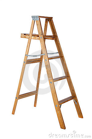 Wooden stepladder on a white background