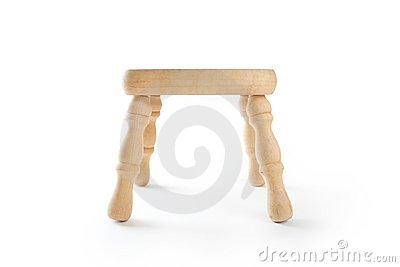 Wooden stool  on white.