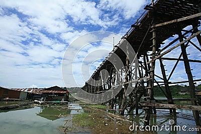 Wooden structure bridge at Sangklaburi