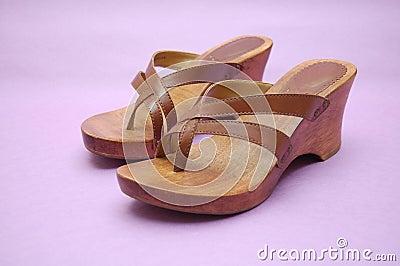 Wooden summer sandals
