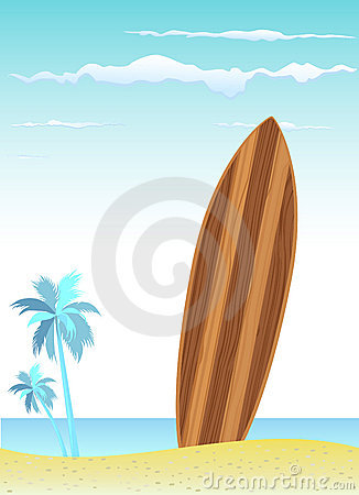 Wooden surfboard with beach