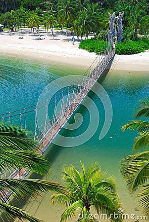 Wooden suspension bridge to paradise island