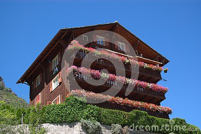 Wooden Swiss mountain chalet