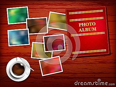 Wooden table, album, photos, coffee