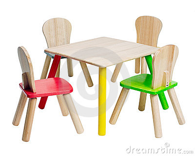 Colorful Wooden Table And Chair Toy For Children To Enjoy There Writing Or Play Wooden