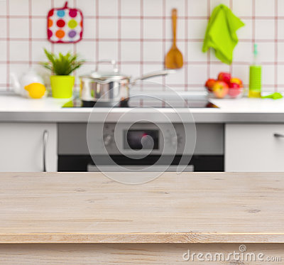 Free Wooden Table On Blurred Kitchen Bench Background Royalty Free Stock Image - 44558316