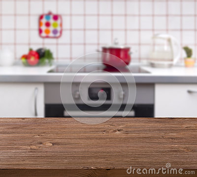 Free Wooden Table On Kitchen Bench Background Royalty Free Stock Photography - 41468597