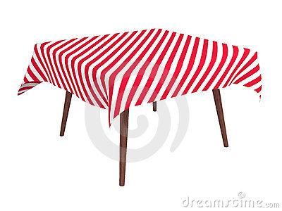 Wooden table with striped cloth, isolated on white