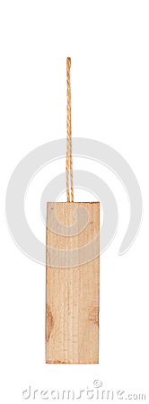 Wooden tag with a piece of string