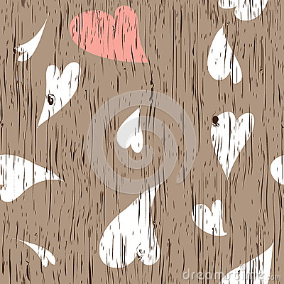 Wooden texture with hearts
