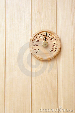 Wooden thermometer in sauna