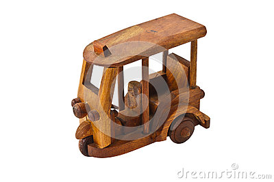 Wooden three wheeler auto rickshaw toy