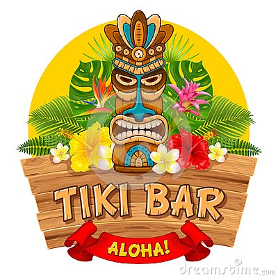 Free Wooden Tiki Mask And Signboard Of Bar Stock Photography - 113582892