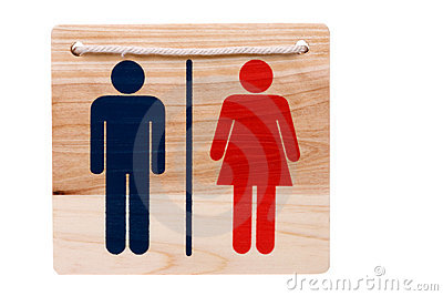 Wooden Toilet Sign Isolated