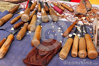 Wooden tools for sculpture