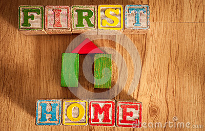 Wooden Toy Blocks Spell First Home