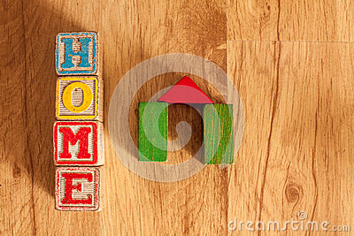 Wooden Toy Blocks Spell Home