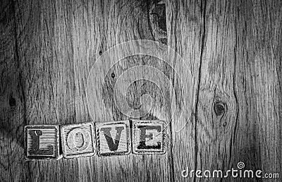Wooden Toy Blocks Spell Love