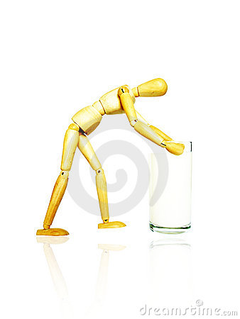 Free Wooden Toy Carry A Glass Of Milk Royalty Free Stock Photos - 7702508