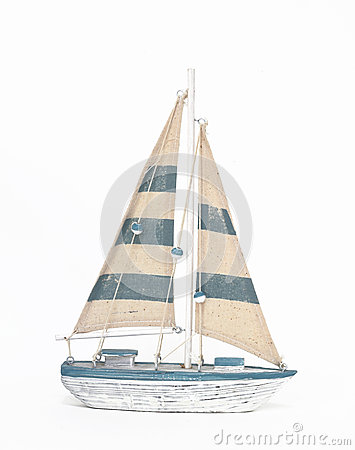 Free Wooden Toy Sailing Boat On White Background Royalty Free Stock Photos - 42283238