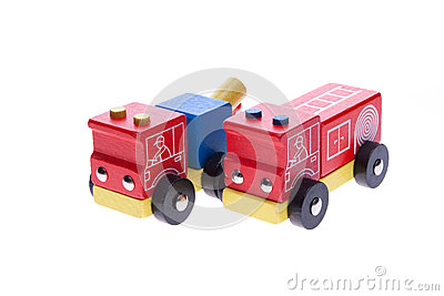 Wooden toy tow truck and fire truck