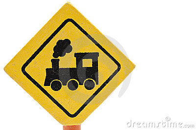 Wooden toy traffic sign: Railway crossing