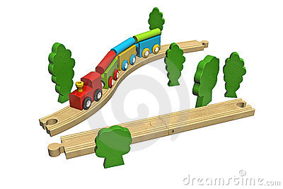 Wooden Toy Train Set Royalty Free Stock Photography