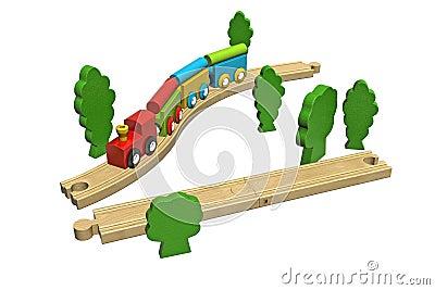 Wooden toy train set.