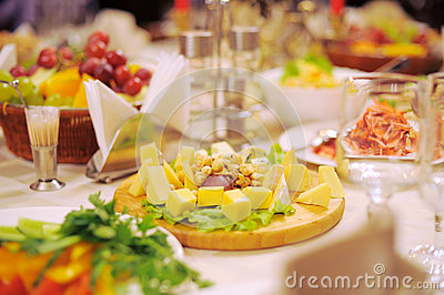 Wooden Tray with Cheese