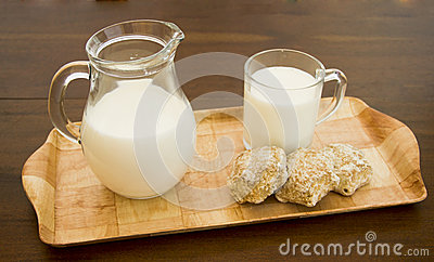Wooden tray with a cup and a jug of milk