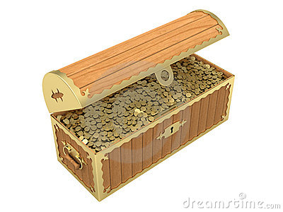 Wooden treasure chest with golden coins