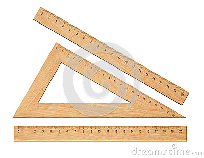 Wooden triangle school rulers set isolated
