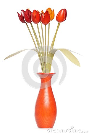 Wooden tulips in a vase
