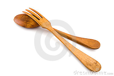 Wooden utensils spoon and fork. Isolated, clipping