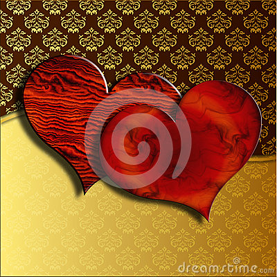 Wooden Valentine hearts on damask