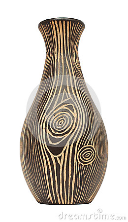 Free Wooden Vase Is Isolated On White Stock Images - 34266524