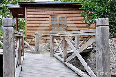 Wooden villa and garden