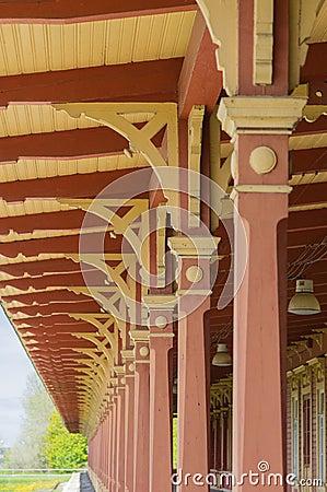 Free Wooden Vintage Railway Station Platform Decorative Roof Stock Images - 55543864