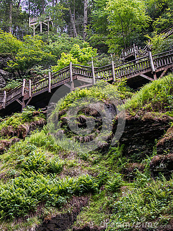 Free Wooden Walkway Above A Verdant Chasm Approaching Bushkill Falls Waterfall In The Poconos In Pennsylvania Stock Image - 85216391