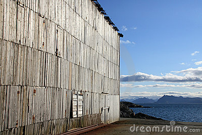 Wooden wall of abandoned  Lofoten s factory