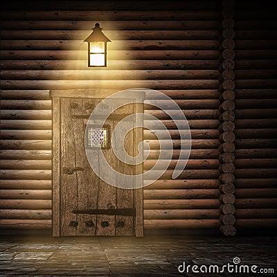 Wooden wall at night