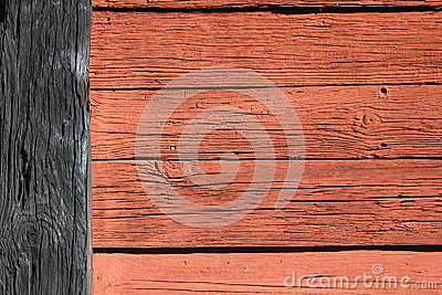 Wooden wall red and black