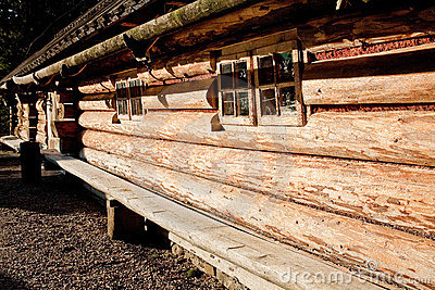 Wooden wall of a traditional house made of logs