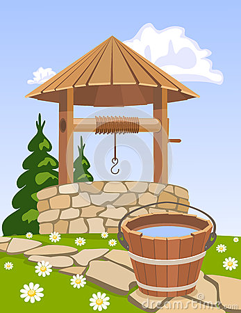 Free Wooden Well And Bucket Of Water Royalty Free Stock Photos - 25000678