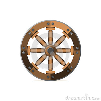 The wooden wheel. An ancient invention. Vector illustration isol Vector Illustration