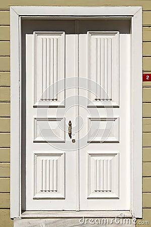 Wooden white front door