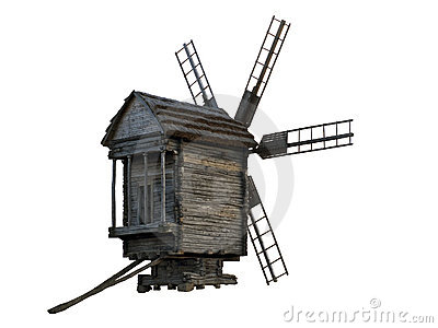 Wooden windmill isolated