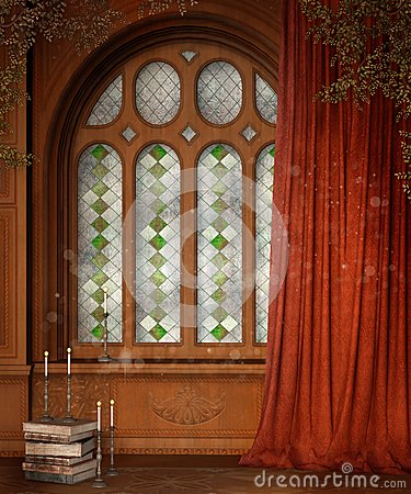 Wooden window with curtains