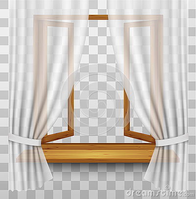 Free Wooden Window Frame With Curtains On A Transparent Background. Royalty Free Stock Photos - 76632338