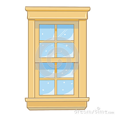 Wooden window isolated illustration